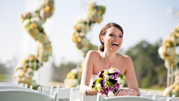 Bride sitting outside