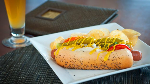 chicago dog and a beer