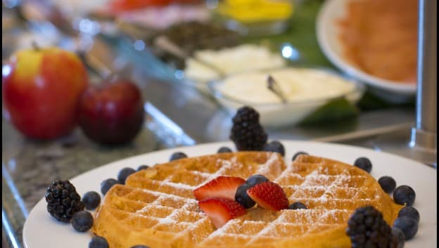 Breakfast waffles at Oscar's Brassserie