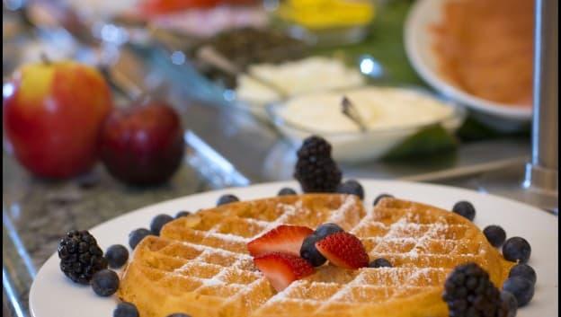 Breakfast waffles at Oscar's Brassserie