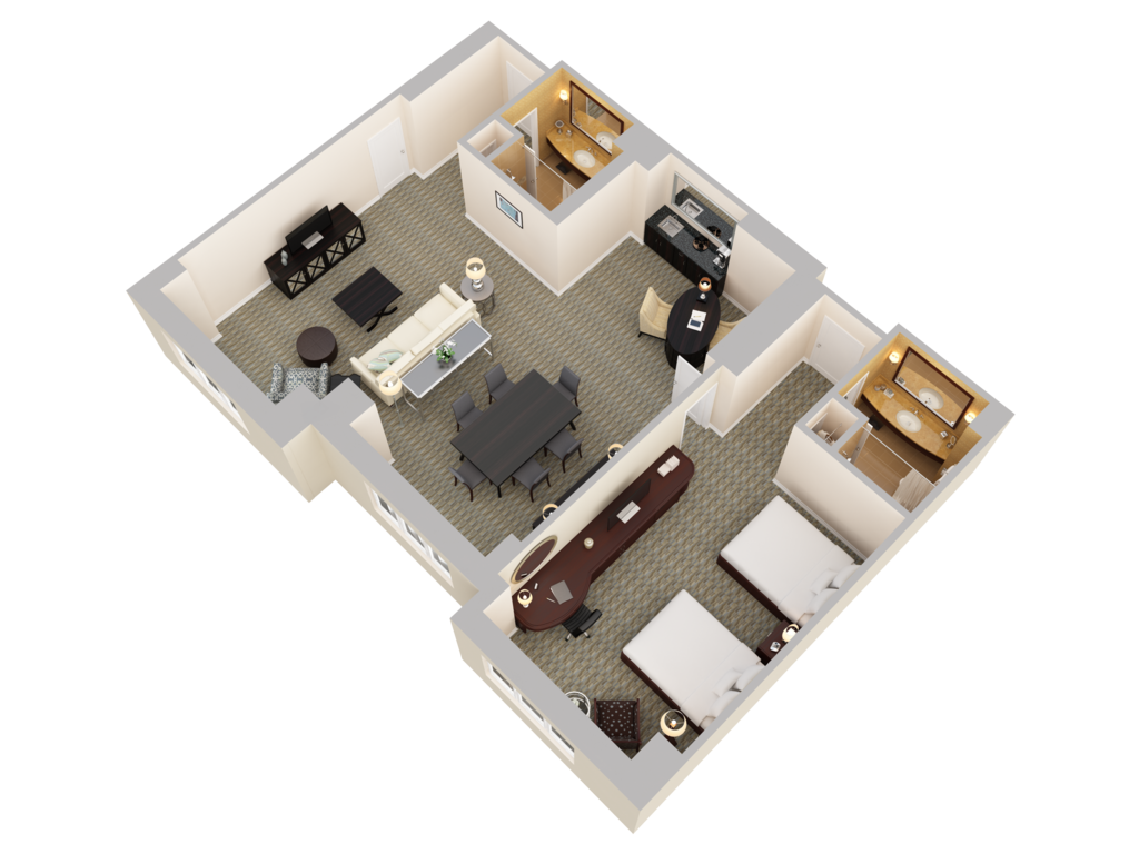 Hilton Bonnet Creek 3D Floor Plans – King Of Queens House Floor Plan